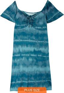 Vestido Azul Midi Tie Dye Plus