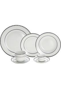 Aparelho De Jantar De Porcelana 42 Peças Alto Relevo - Unissex