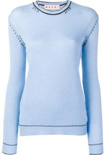Marni Suéter Com Detalhe Contrastante - Azul