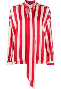 Jejia Striped-Print Long-Sleeved Blouse - Vermelho