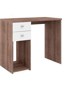Mesa Para Computador 2 Gavetas 1 Nicho Msm 412 Rústico/Branco - Móvel Bento