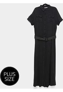 Vestido Longo Heli Plus Size C/ Cinto - Feminino-Preto