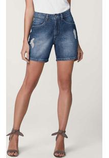 Bermuda Azul Jeans Comfort Cintura Média Malwee
