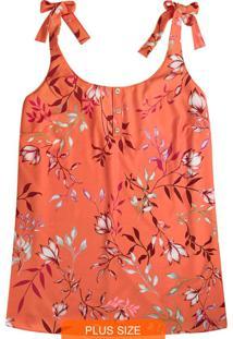 Blusa Laranja Floral Com Amarração