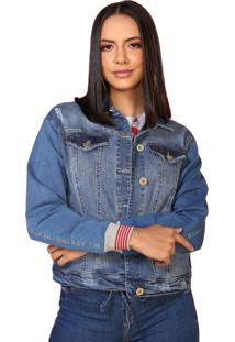 Jaqueta Jeans Retrato Falado Punho Colorido Azul