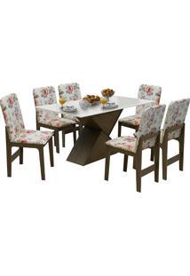 Conjunto De Mesa Com 6 Cadeiras Com Tampo Mdf Viena-Dobuê - Castanho / Off / Vermelho Floral