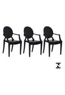 Kit 3 Cadeiras Louis Ghost Preta Solido Policarbonato Sala Cozinha Jantar
