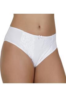 Calcinha Click Chique Alta Sobreposição Dupla Feminina - Feminino-Branco