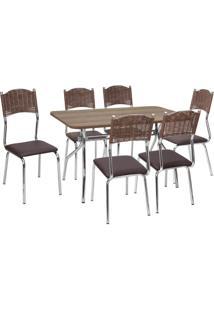 Conjunto Mesa + 6 Cadeiras Fil Flavia, Cromada - 139604