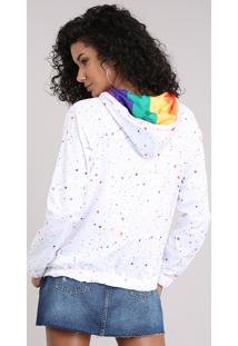 Jaqueta Corta Vento Com Capuz Arco-Íris Estampada De Respingos Branca
