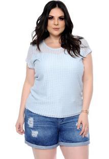 Blusa Renda Vazada Plus Size