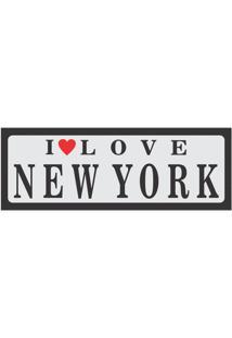 Placa Decorativa I Love New York 10X30 Cm Preto