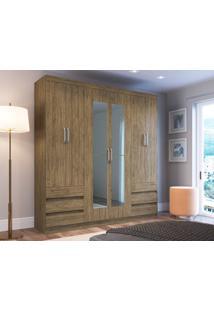 Guarda -Roupa 6 Portas Decibal Rp5066 Com Espelho Wood Se Guarda-Roupa 6 Portas Decibal Rp5066 Com Espelho Wood Se