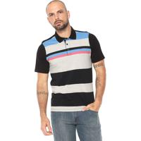 Camisa Polo Hurley Reta Listrada Preta Cinza eaf6084ed2efc