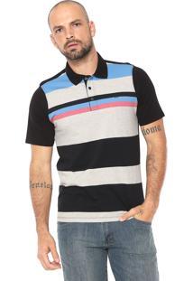 Camisa Polo Hurley Reta Listrada Preta/Cinza