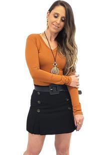 Blusa Mania De Sophia Decote V Terracota - Caramelo - Feminino - Viscose - Dafiti