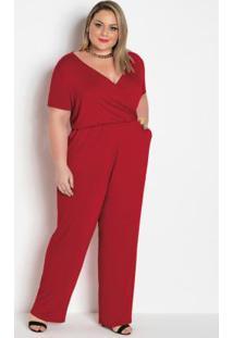 Macacão Vermelho Plus Size Com Bolsos Funcionais