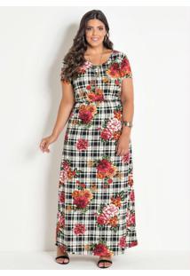 Vestido Longo Com Fenda Plus Size Xadrez Floral