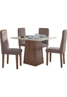 Sala De Jantar Nevada 100Cm Com 4 Cadeiras Imbuia Velvet Rosê