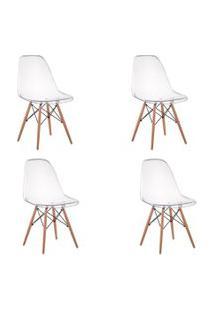 Cadeira Império Brazil Eiffel Wood - Policarbonato Transparente