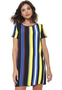 Vestido Forum Curto Listras Azul/Amarelo/Preto