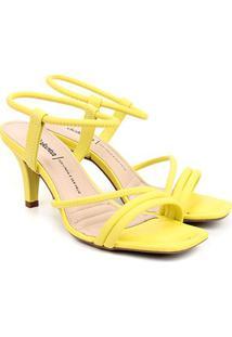 Sandália Dakota Multi Tiras Salto Médio Feminina - Feminino-Amarelo