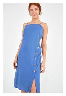 Vestido Cropped Botoes Lateral Azul Mosaico