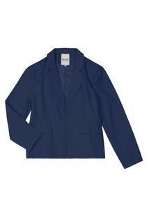 Blazer Alfaiataria Feminino Plus Size Secret Glam Azul