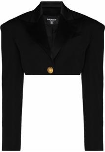 Balmain Plunging V-Neck Cropped Jacket - Preto