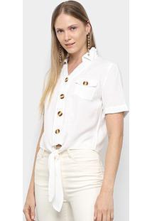Blusa Sofia Fashion Linho Botões Bolsos E Amarração Feminina - Feminino-Branco