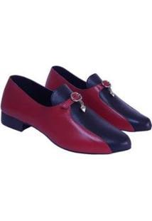 Sapato Conforto Loafer Sapatos E Botas Couro Feminino - Feminino-Vermelho+Preto
