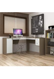 Escrivaninha Para Escritório 1 Porta 2 Gavetas Home Office Siena Móveis Avelã Tx/Branco Tx