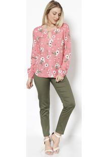 Blusa Floral Com Recorte - Rosa & Brancavip Reserva