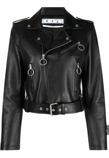 Off-White Jaqueta Biker Liquid Melt - Preto