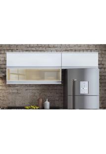 Armários Aéreos De Cozinha 2 Portas Basculantes 1 De Vidro Belíssima Itatiaia Branco/Cetim