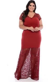 Vestido De Festa Plus Size Forma Rara Longo Vermelho Leah - Vermelho - Feminino - Dafiti