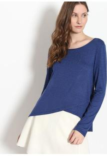 Blusa Em Boton㪠- Azul Marinho & Branca - Malweemalwee
