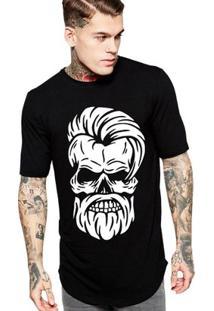 Camiseta Criativa Urbana Long Line Oversized Caveira Estilosa Barbearia - Masculino