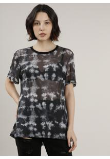 Blusa Feminina Em Tule Estampada Tie Dye Manga Curta Decote Redondo Preto