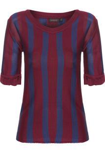 Blusa Feminina Listras Verticais Bicolor - Vermelho
