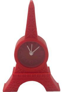 Relógio De Mesa Torre Eiffel Emborrachado Vermelho 12X8X2Cm