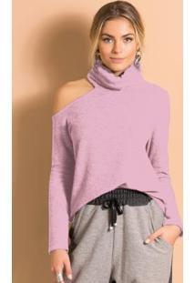 Blusa Com Gola Alta E Ombro Vazado Rosa