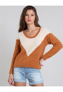 Suéter Feminino Em Tricô Felpado Geométrico Caramelo