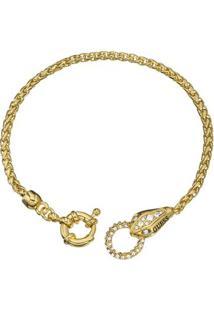 Pulseira Serpente Com Strass- Dourada- 21Cm- Gueguess