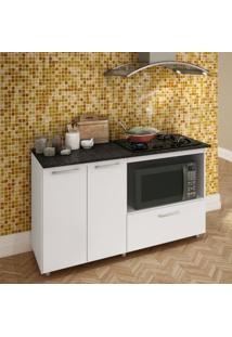 Balcão Para Cooktop E Microondas Completa Móveis Branco/Granito