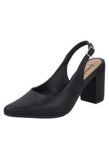 Sapato Feminino Amorelle Scarpin Slingback Salto Alto Bico Fino Preto