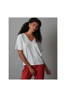 Amaro Feminino Yogini Camiseta Cotton Handmade Angel, Cinza Mescla Claro