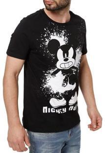 Camiseta Manga Curta Masculina Disney Preto