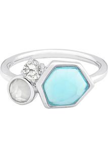 Anel Com Pedra Ágata- Prata & Azul Claro- Tamanho: 1Vivara
