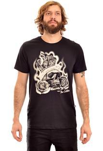 Camisa Manga Curta New Skate Kingskull Preto